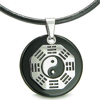Yin Yang BA GUA åtte Trigrams Amulet sort Onyx Magic Circle åndelige krefter anheng halskjede
