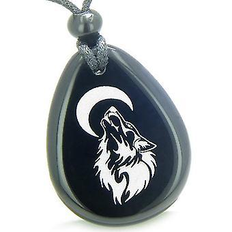 Amulett modig skydd Howling Wolf Moon andliga krafter Onyx Totem hängsmycke halsband