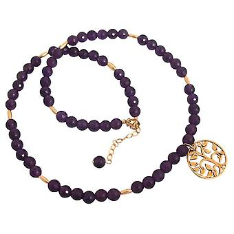 Ladies necklace Amethyst tree of life gold plated Purple Purple