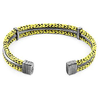 Anchor & Crew Yellow Noir Aire Silver and Rope Bangle