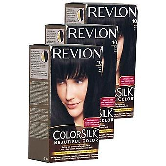 3 X Revlon Colorsilk Beautiful Colour Hair Colourant 10 Black