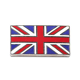 Union Jack Flag Metal Enamel Chrome Classic Car Badge - Self Adhesive