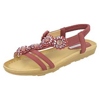 Dames Anne Michelle sandalen met Diamante bloem Detail