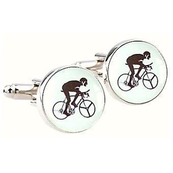 Bassin e gemelli di ciclismo rotondi marroni - bianco/nero