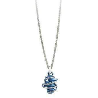 TI2 Titanium Chaos Drop Anhänger und Silber Halskette - himmelblau
