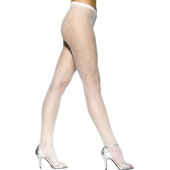 Fishnet Tights White, One Size