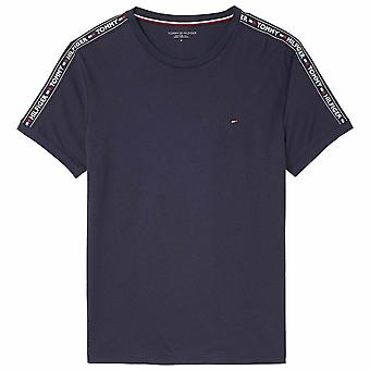 Tommy Hilfiger Logo Tape Crew Neck T-Shirt, Navy, Small