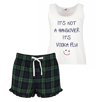 Non si tratta di una sbornia è Vodka influenza pigiama Ladies Tartan Frill pigiama corto Set rosso blu o verde blu