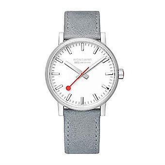 Mondaine evo2 Big Grey Leather Strap Men's Watch MSE.40110.LH 40mm Case