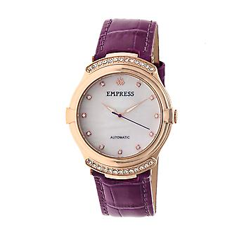Empress Francesca Automatic MOP Leather-Band Watch - Fuschia