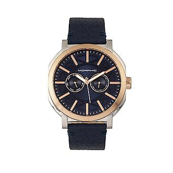 Morphic M62 Series Leather-Band Watch w/Day/Date - Rose Gold/Navy