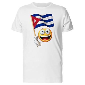 Glücklich Emoji Holding kubanische Flagge T-Shirt Herren-Bild von Shutterstock