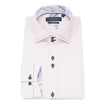 Guide London Detailed Plain Pure Cotton Long Sleeve Men's Shirt