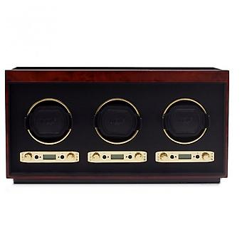 Wolf Designs Meridian Burlwood & Gold Triple Watch Winder 2.7