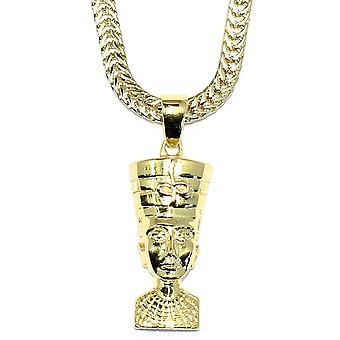 Gold Queen Nefertiti Pendant with 18 kt Gold plated Flat Franco Box Chain