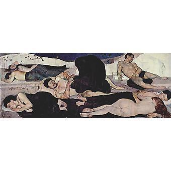 Night,Ferdinand Hodler,80x31cm