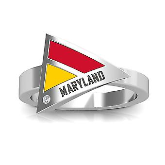 University Of Maryland Engraved Sterling Silver Diamond Geometric Ring In Red and Yellow