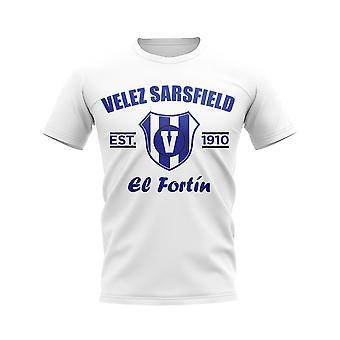 Velez Sarsfield perustettiin jalka pallo T-paita (valkoinen)