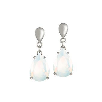 Eternal Collection Seduction Teardrop White Opal Crystal Silver Tone Drop Pierced Earrings
