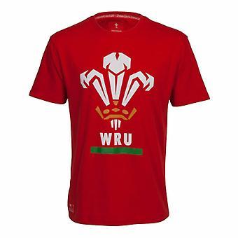 Wales WRU Rugby Men's Large Logo T-Shirt | Red | 2019