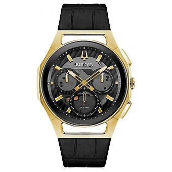 Bulova | Curv | Mens | Chronograph | Black Leather Strap | 97A143 Watch