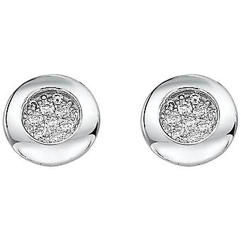 Bella Multi Cubic Zirconia Rubover Stud Earrings - Silver