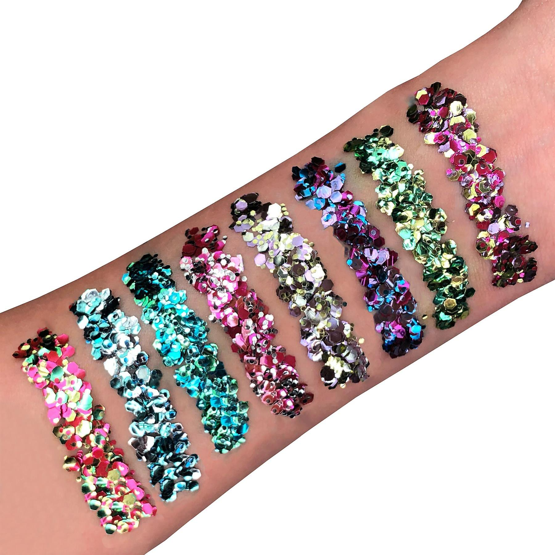 Mystic Bio Biodegradable Eco Chunky Glitter by Moon Glitter - 100% Cosmetic Bio Glitter for Face, Body, Nails, Hair and Lips - 3g - Set of 8