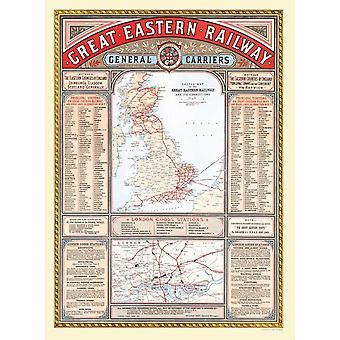 Great Eastern Railway karta 1000 pjäs pussel 690mm x 480mm (JG)