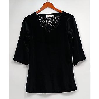 Quacker Factory Women's Top XXS Stretch Velvet Mesh Keyhole Black A238022