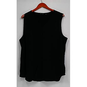 H by Halston Top XL Sleeveless Top w/ Front Keyhole Detail Black A276471