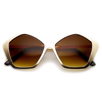 Geometric Fashion Metal Hexagon Frame Women's Sunglasses