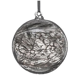 Sienna Glass 10cm Christmas Ball, Pastel Silver