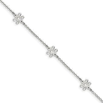 925 στερλίνα ασημένια φανταχτερά Αστακός κλείσιμο γυαλισμένο λουλούδι με 1inch ext. αστράγαλος 9 ιντσών δώρα κοσμήματα για τις γυναίκες