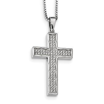 925 Sterling Silber Frühling Ring und CZ Zirkonia simuliert Diamant brillante Embers religiösen Glauben Kreuz Halskette