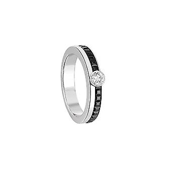 Silver ring, black ceramic and Crystal Cubic Zirconia 4449