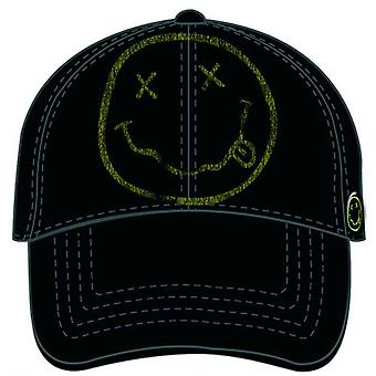 Nirvana Baseball Cap Smiley Face Band Log distressed new Official Black
