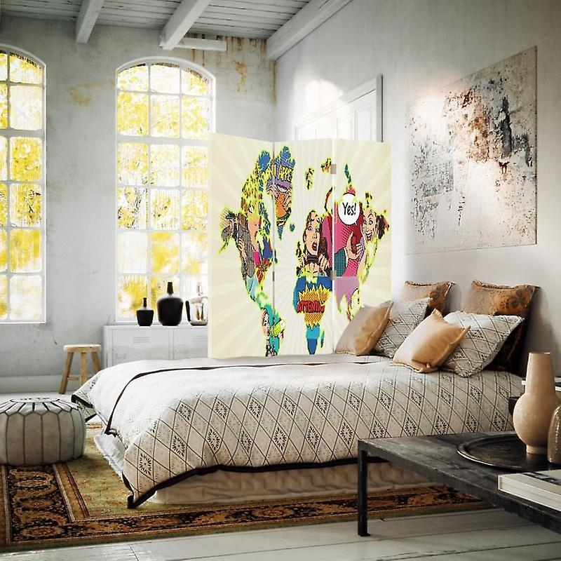 Room Divider, 3 panneaux, single-sided, Canvas, Map Of The World Pop-Art