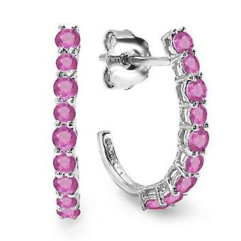 Dazzlingrock Collection 0.50 Carat (ctw) 14K Round Pink Sapphire Ladies Fancy J Shaped Hoop Earrings 1/2 CT, White Gold
