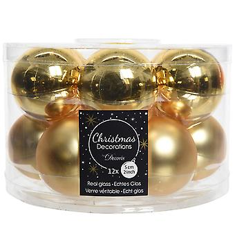 12 5cm Light Gold Glass Christmas Tree Bauble Decorations