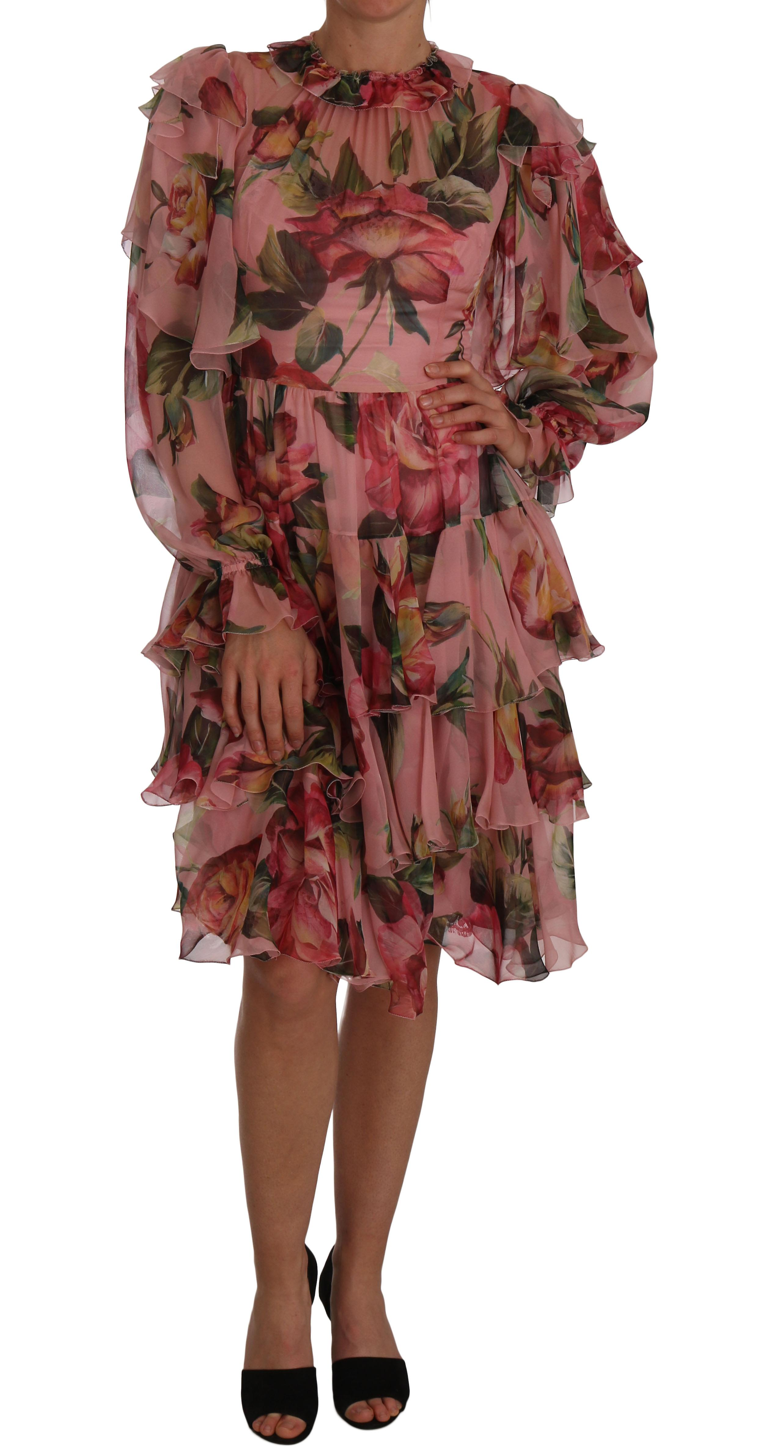Pink Floral Roses A-Line Shift Gown