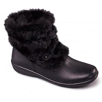 Padders Kim damer læder ekstra bred (2E/3e) ankel støvler sort
