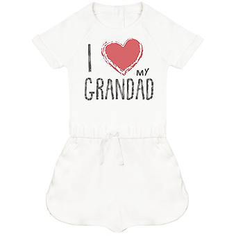 I Love My Grandad Red Heart Baby Playsuit
