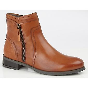 Cipriata Denise Ladies Leather Zip Ankle Boots Tan