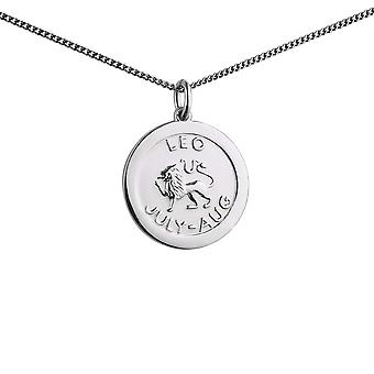 Silver 22mm round Leo Zodiac Disc Pendant with a 1.3mm wide curb Chain 24 inches