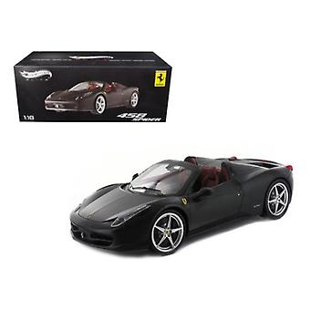 Ferrari 458 Italia Spider Matt Black Elite Edition 1/18 Diecast Car Modelo Por Hotwheels