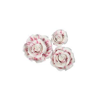 SugarSoft Flor Comestível - Rosas - mármore - framboesa Ripple - pacote misto de tamanho variado - 12 rosas