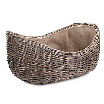 Large Boat Shaped Rattan Log Basket with Hessian Lining