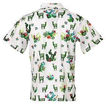 Funny Guy Mugs Men's Llama and Cactus Hawaiian, Llama & Cactus, Size Medium