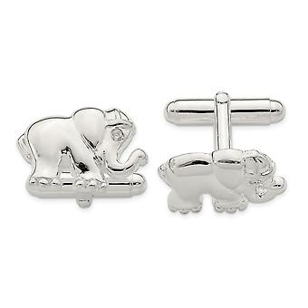 19.3mm 925 Sterling Silver CZ Cubic Zirconia Simulated Diamond Elephant Cuff Links Jewelry Gifts for Men