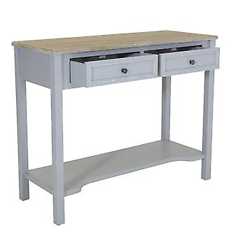 Charles Bentley Loxley 2 Drawer Two Tone Wooden Storage Console Hallway Table Grey with Metal Handles